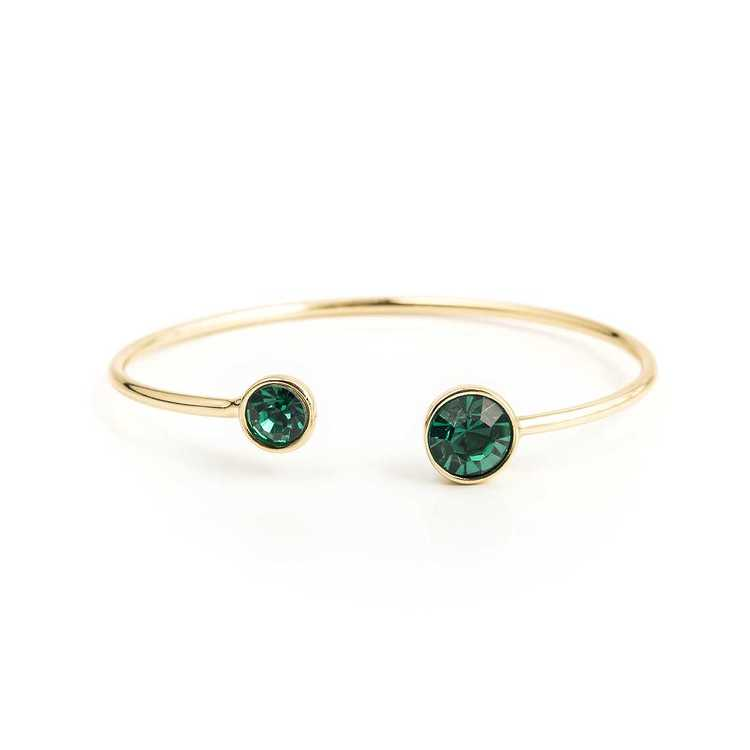 Armband - Moon Open Bangle - Emerald Green Gold