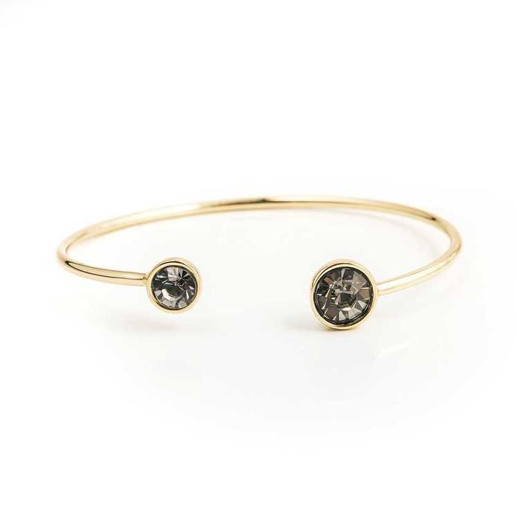 Armband - Moon Open Bangle - Black Diamond Gold