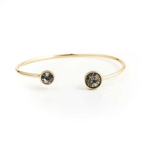 Armband - Moon Open Bangle - Black Diamond Gold