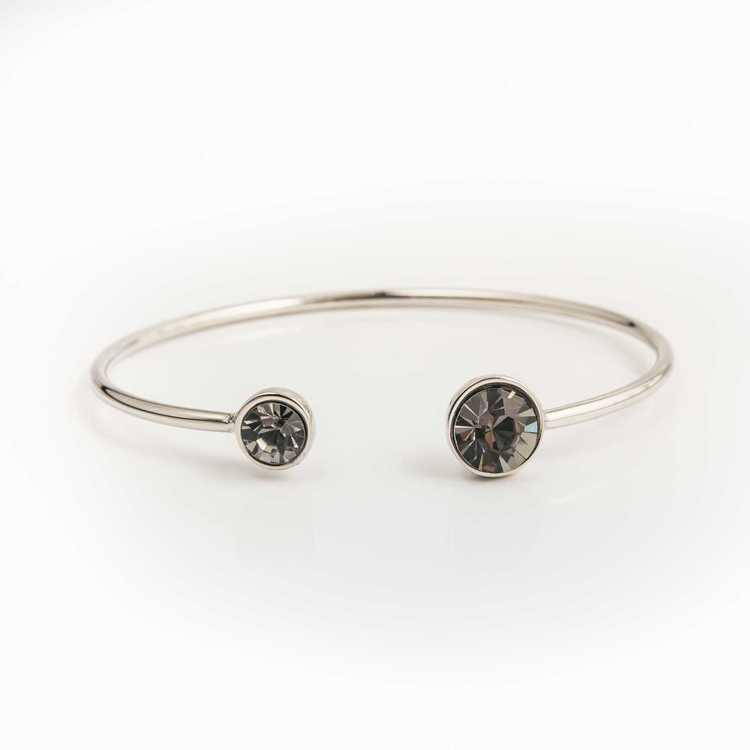 Armband - Moon Open Bangle - Black Diamond Silver