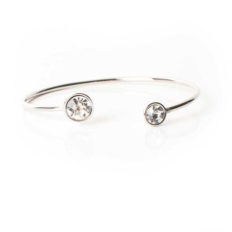 Armband - Moon Open Bangle - Crystal Silver