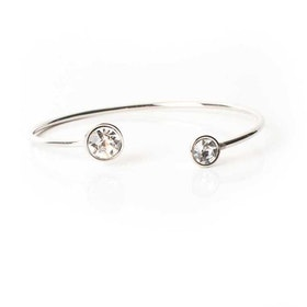 Armband - Moon Open Bangle - Crystal Silver