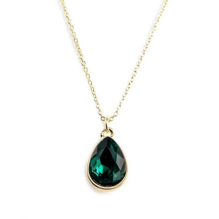 Halsband - Glam Drop - Emerald Green Gold