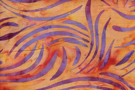 Orange with purple print.