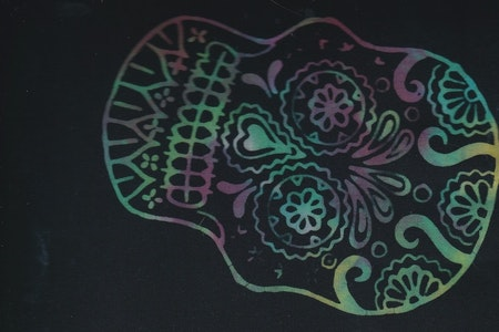 Multicolor skull on black bottom