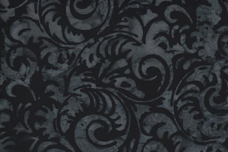 Black with gray print. Viscose. 140 cm wide