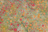 Grön med orangegula prickar