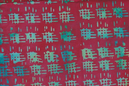 Green-turquoise pattern and red background