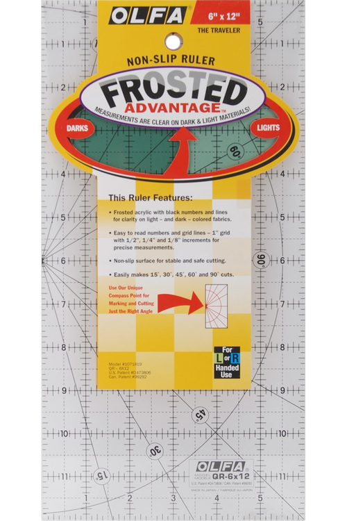 Non-slip Ruler, 6 * 12 inches. OLFA