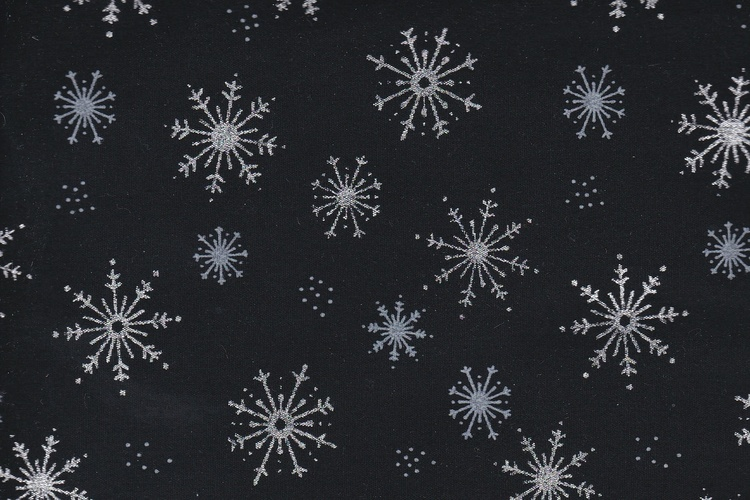 Black with snow stars in silver and blue, cotton, 110 cm wide