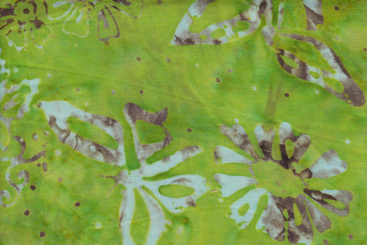 Lime green with white and beige print. Viscose. 110 cm wide