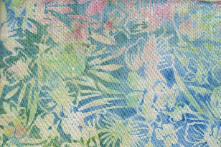 Blue, green and pink viscose. 130 cm wide