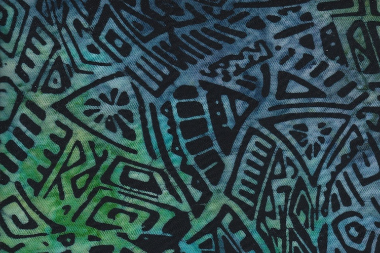 Blue-green and black motif. Viscose 130 cm wide