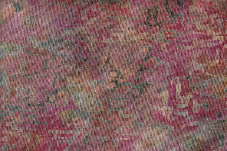 Labyrinttryck i rödbeigebruna nyanser. Trikå 100% bomull