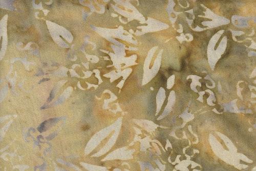 Beige och beigegrönt batiktyg i trikå 100% bomull