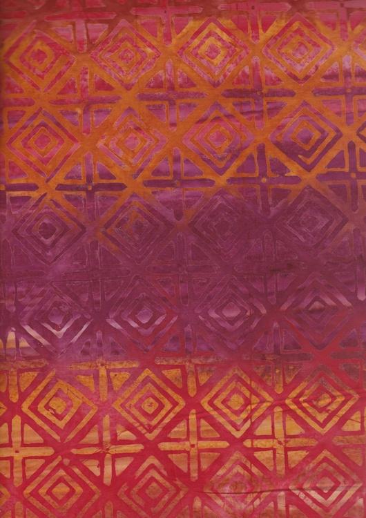 Gul-röd-orangea färger med grafiskt mönster. En av 5 tyger i serie. Foto i A4 storlek