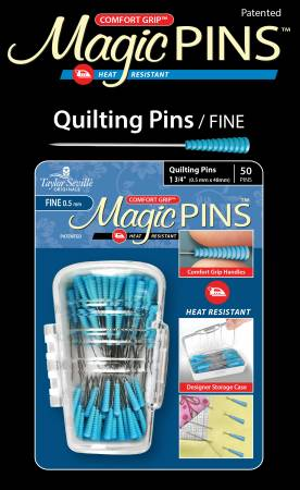 Magic Quilting pins, 0,5 mm*48 mm, 50 st i en ask. Blå handtag