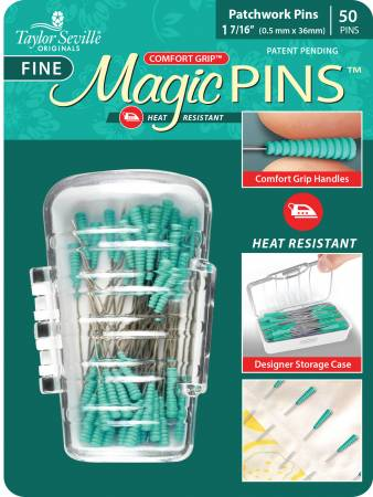 Magic Quilting pins, 0,4 mm*36 mm, 50 st i en ask. Turkost handtag