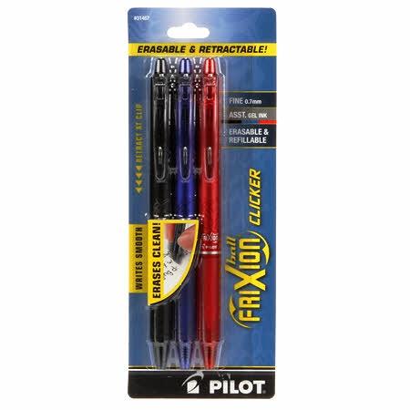 Frixion Clicker 3-pack, svart, blå & röd. Fine 0,7 mm. Pilot
