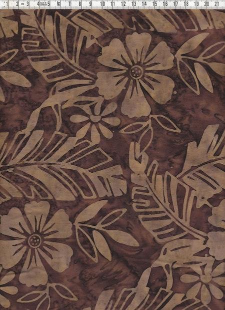 Brunt tryck på brun botten. Batiktyg direkt från Bali
