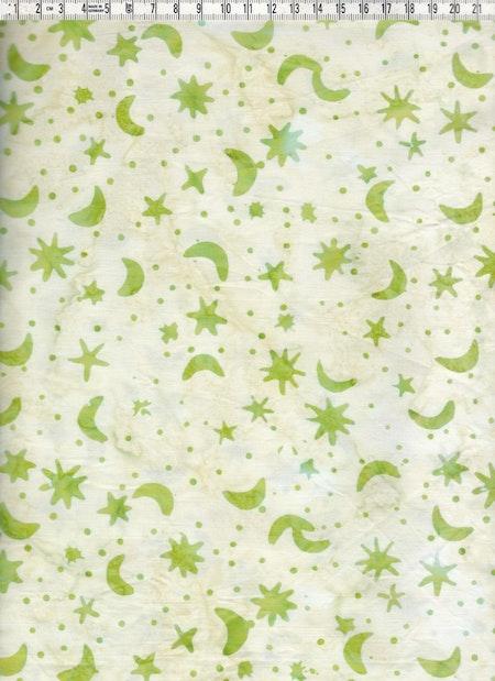 Ljust ljusgrön med gröna månar och stjärnor. Balibatik