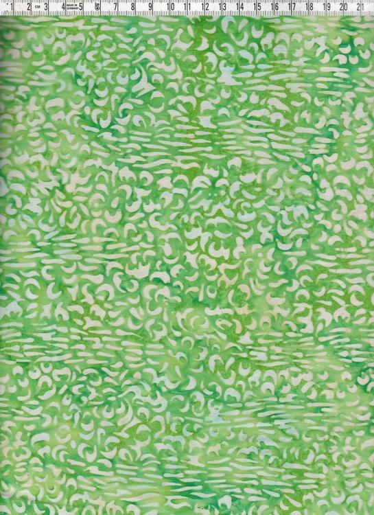 Friska, fräscha gröna färger på vit botten. Batiktyg från Bali