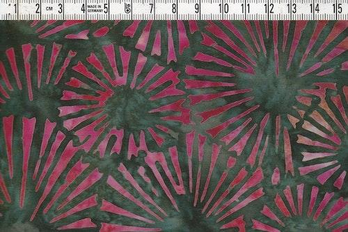 Mossgrön botten med stiliserade blommor i rött. Batiktyg