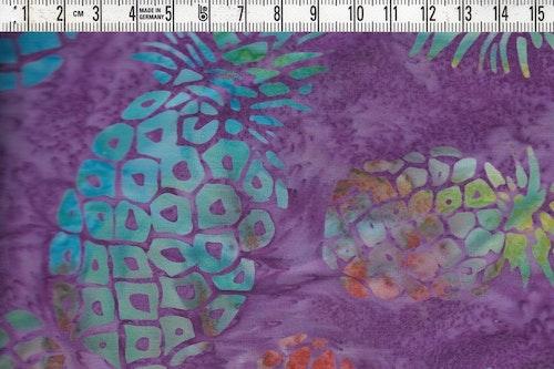 Läckra ananaser i flera goa färger. Lilamurrig bakgrund.