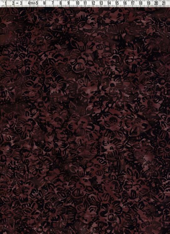 Små blommor, brunt på brunt. Batiktyg i bomull