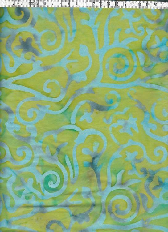 Grönflammigt med ljusblå-grå motiv. Batiktyg från Bali