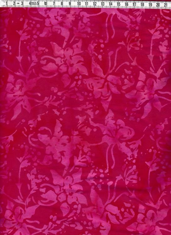 Cerise motiv på röd bakgrund. Bomullsbatik från Bali