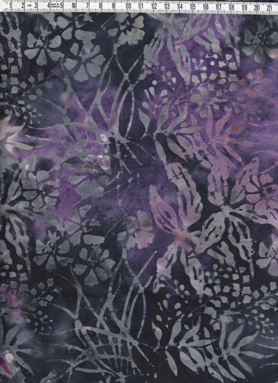 Lila-svart-grått tyg med vildvuxet mönster. Balityg