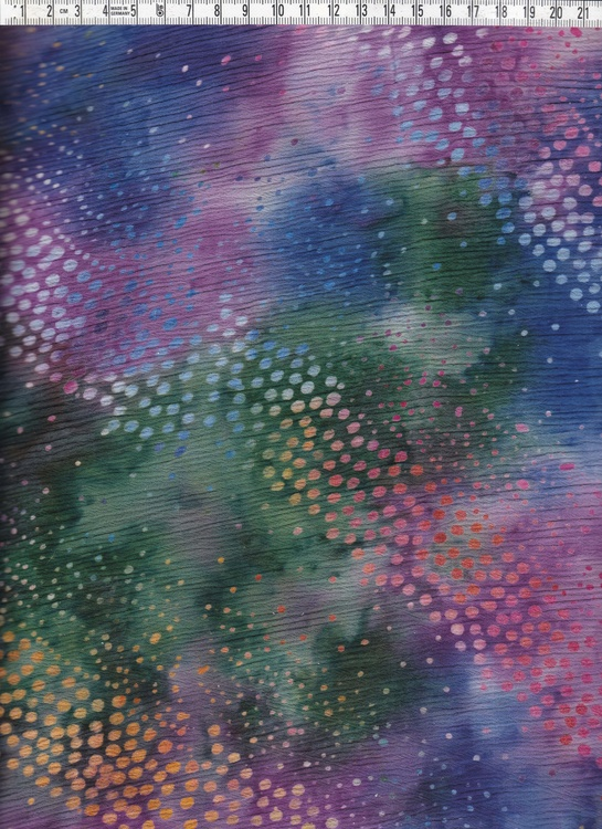Flera mustiga färger och diagonalt prickmönster.