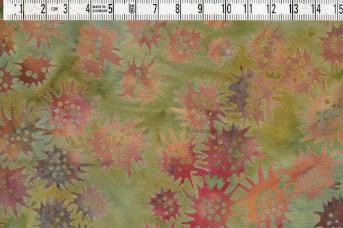 """""""Freaky Flower""""  i grönt orange och brunt. 145 cm bred"""