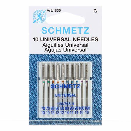 Symaskinsnålar från Schmetz, 10-pack Universal Needles 2 st 70, 3 st 80, 3 st 90 & 2 st 100.