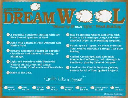 """Quilters Dream Wool. Ullvadd 93"""" x 72"""", från USA"""