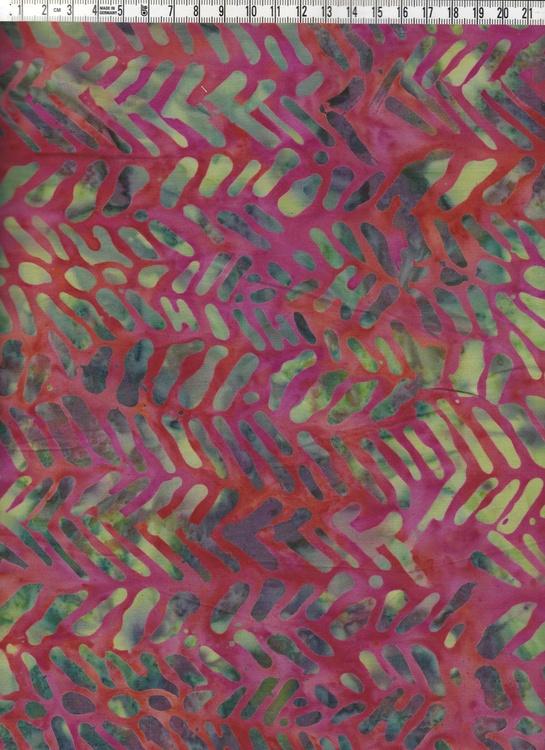 Rödflammig bakgrund med mönster i gröna toner
