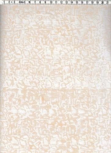 Ljusbeige labyrintmönster på vit botten. Bomullsbatik