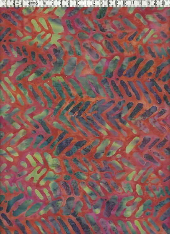 Rödflammig botten med intressant mönster.  Bomullsbatik