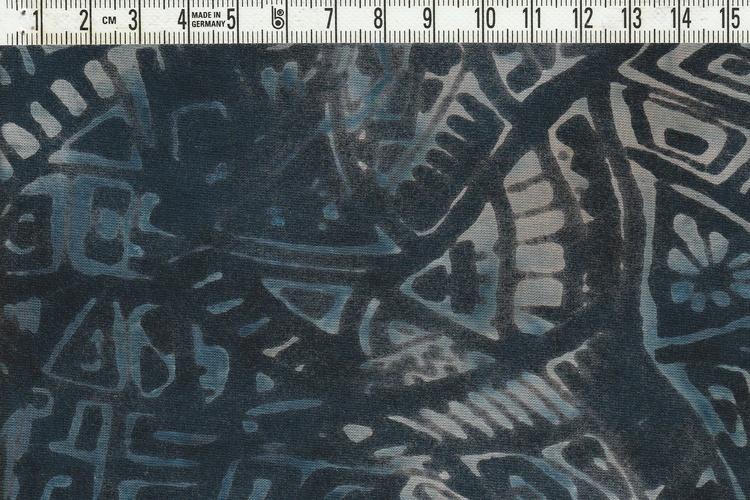 """""""Modern Galaxie"""" i blått på blått.  Bredd 120 cm"""