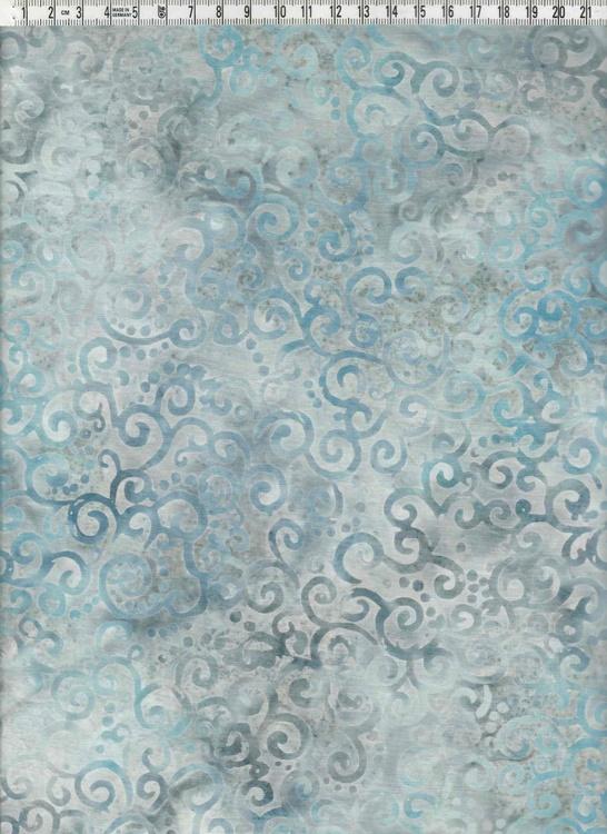 Blå-grå med krumelurmönster. Bomullsbatik