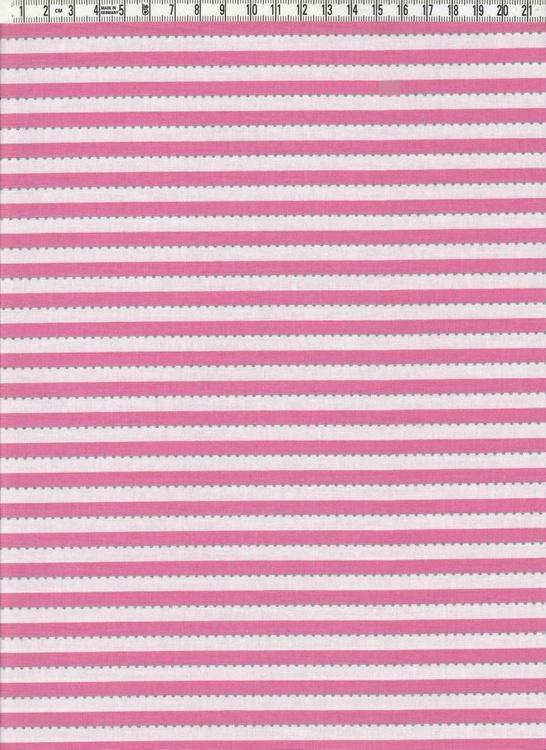 Anthology. Smalrandig rosa & vit med silverprickar, 110 cm bred