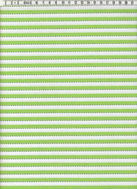 Anthology. Smalrandig grön & vit med silverprickar, 110 cm bred