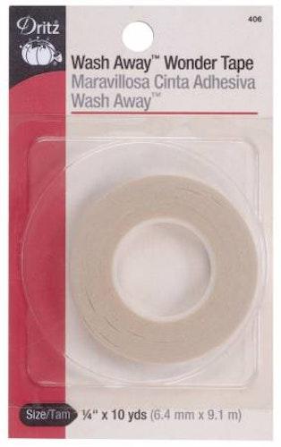 Wonder Tape, 1/4 inch*9,1 meter, dubbelhäftande, wash away-tejp, Dritz