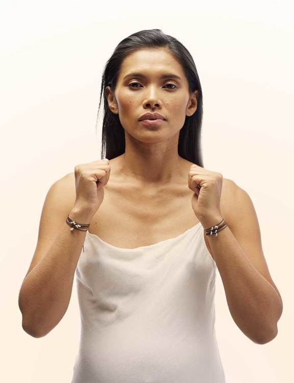 Armband med budskapskort, grå