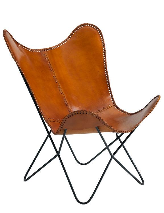 Fåtölj naturgarvat läder, cognac