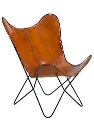 Fladdermusfåtölj naturgarvat läder cognac