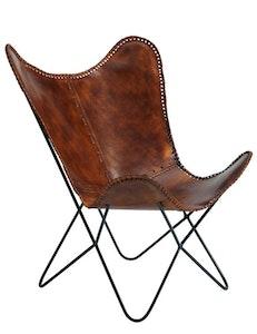 Fladdermusfåtölj naturgarvat läder brown