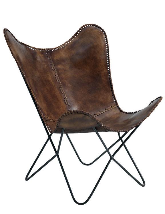 Fåtölj naturgarvat läder, patina