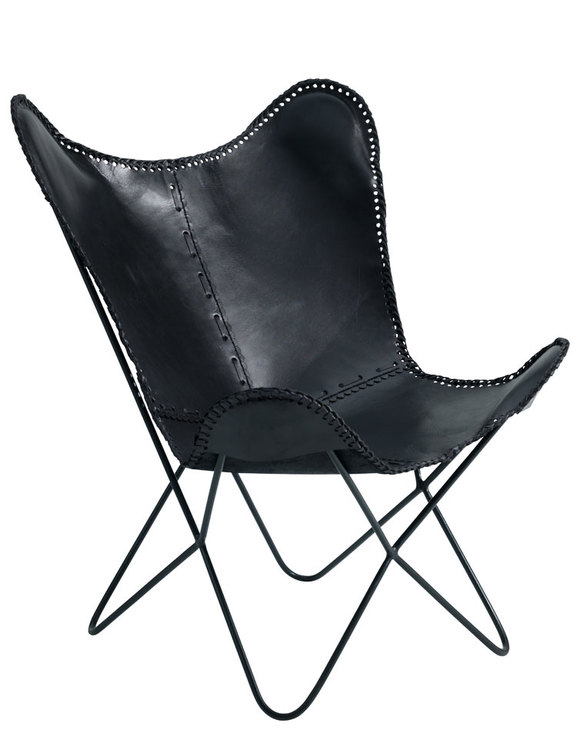 Fladdermusfåtölj naturgarvat läder svart